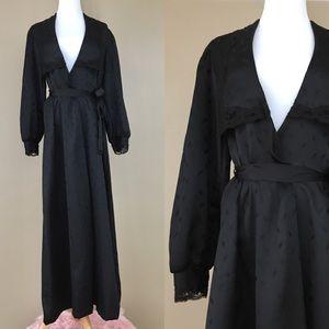 Vintage 70s Barad & Co Black Satin Robe Housecoat
